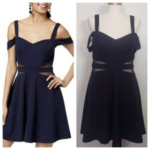 SPEECHLESS navy cold shoulder illusion mini dress